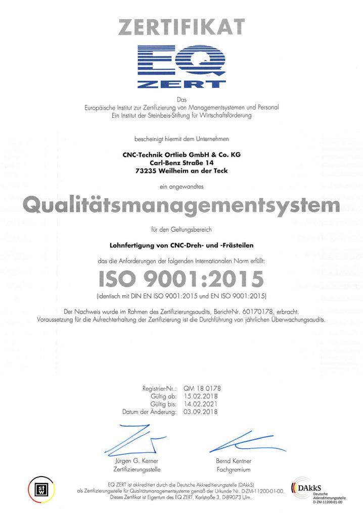 CNC Technik Ortlieb Zertifikat